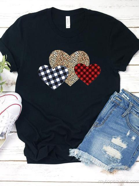 Plaid Leopard Love Heart Printed T-Shirt