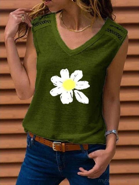 Daisy Print V-Neck Tank Top