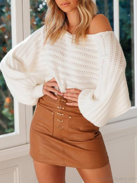Off Shoulder Bat Sleeve Sweater