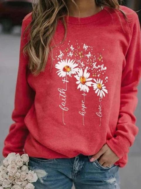Daisy Print Long Sleeve Tops