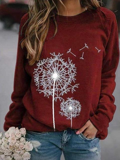 Dandelion Print Long Sleeve Tops