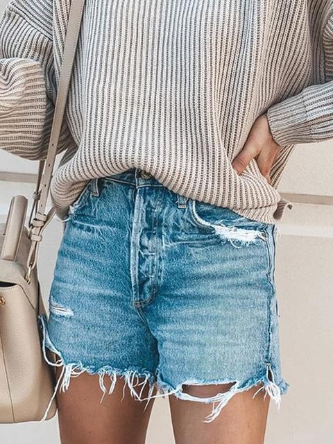 Denim Solid High Waist Shorts