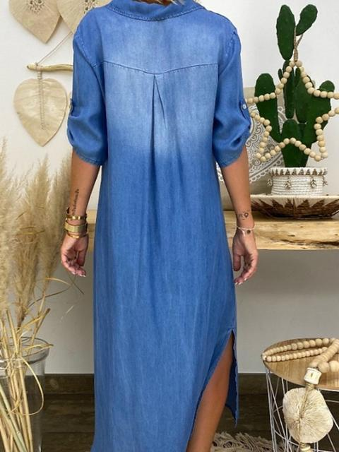 Denim V Neck Loose Dress