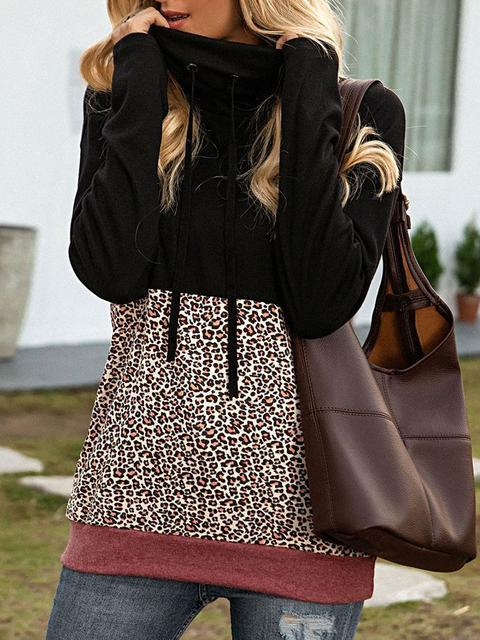 Drawstring Leopard Print Round Neck Hooded Sweater