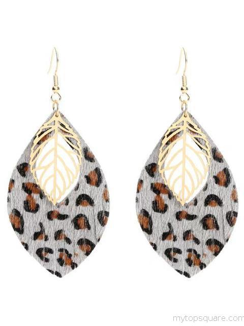 Leaf Leopard Leather Earrings