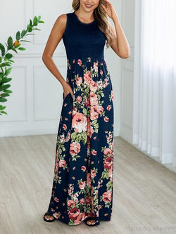 Lace Floral Print Pleated Dress With Pockets