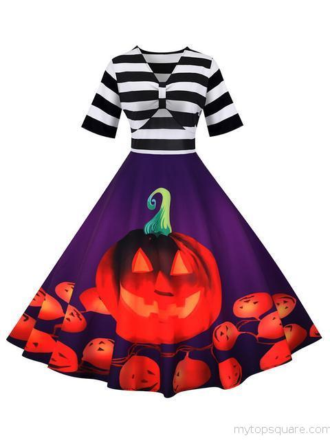 Stripes Print Pumpkin Halloween Dress
