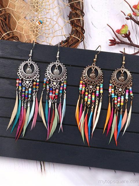 Bohemian Bead Feather Tassel Earrings