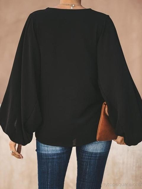 Loose Long Sleeve V Neck Tops