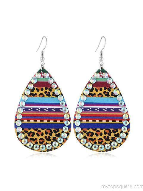 Leopard Printed Rhinestone PU Leather Earrings