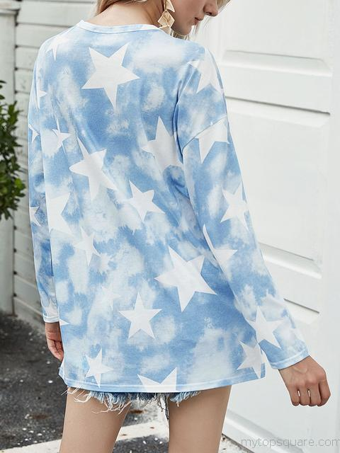 Tie-dye Stars Print Long Sleeve T-shirt