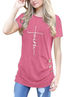 Faith Printed Buttons Casual T-shirts