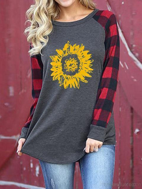 Sunflower Pattern Oversized T-shirt