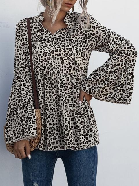 Flared Sleeve Leopard Print Blouse