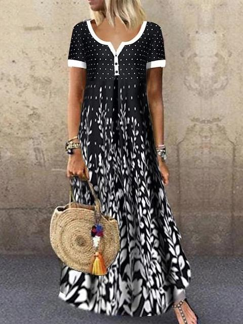 Floral Print Button Maxi Dress