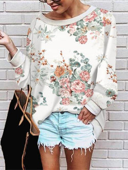 Floral Print Casual Loose Tops