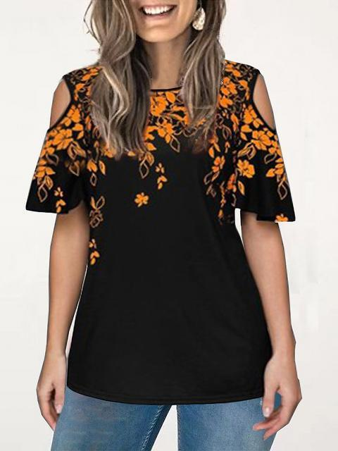 Floral Print Cold Shoulder Casual Tops