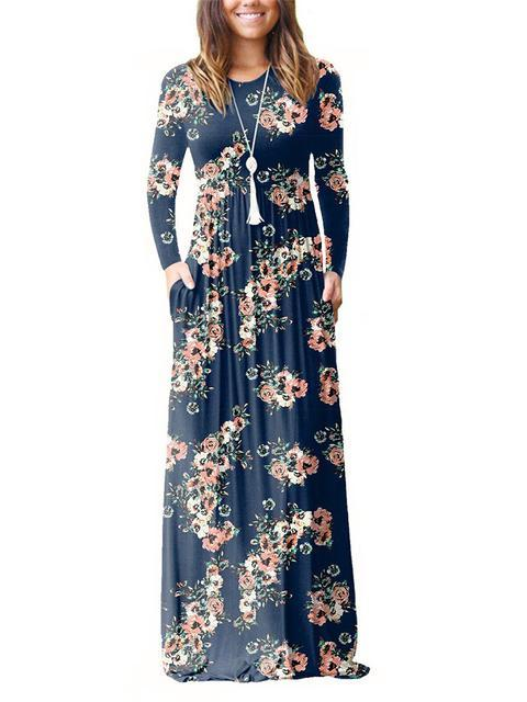 Floral Print Long Sleeve Dress With Pockets