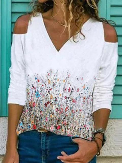 Floral Print Long Sleeve Strapless Tops