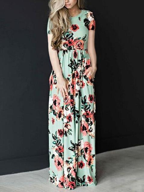 Floral Print Pleated Maxi Dress With Pockets