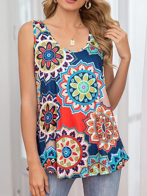 Floral Print Round Neck Loose Camisole