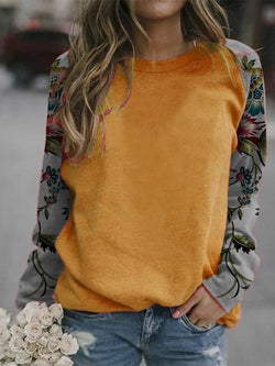 Floral Print Sleeve Casual Tops