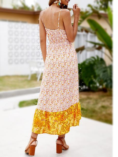 Boho Floral Print Split Hem Maxi Dress