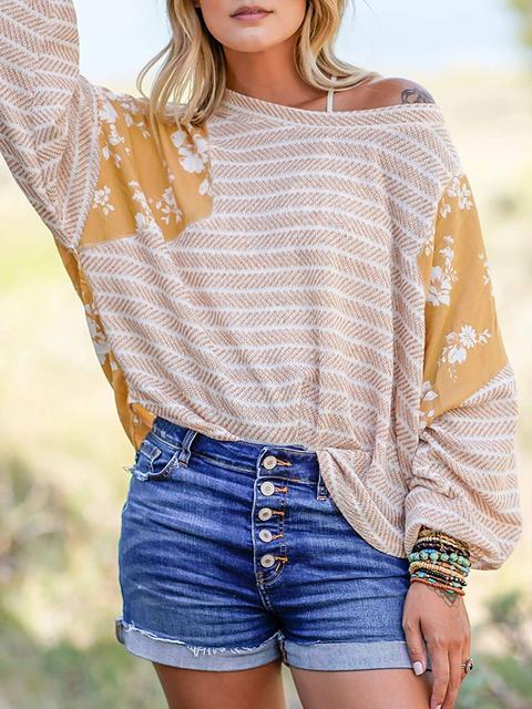 Floral Print Stripesd Pullover