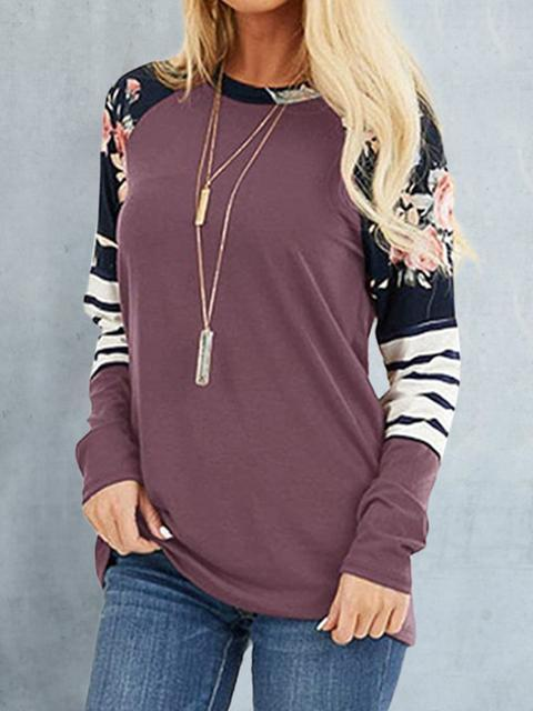 Floral Stripes Print Long Sleeve Tops