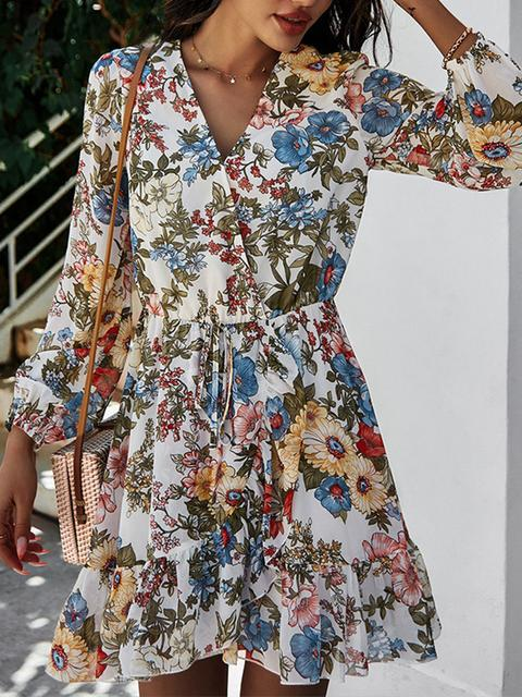 Flower Print Long Sleeve Mini Dress
