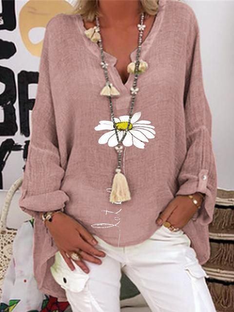 Flower Print V Neck Regular Tops