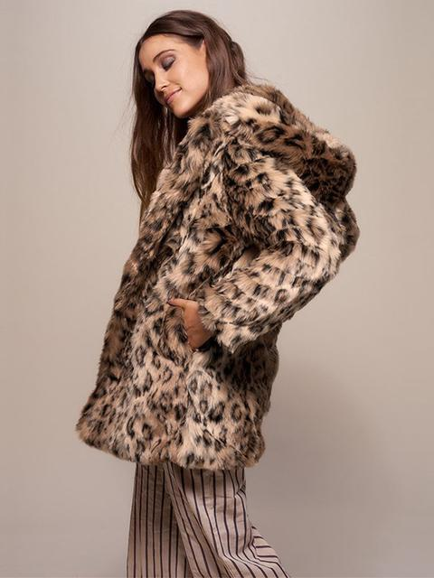 Fur Faux Leopard Hooded Trench Coat