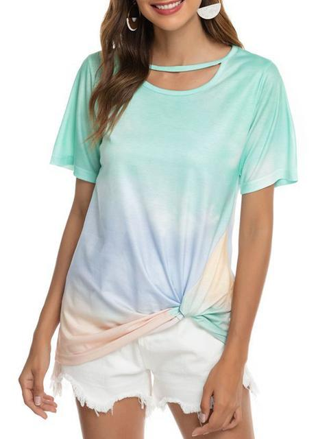 Gradient Color Twisted Tops