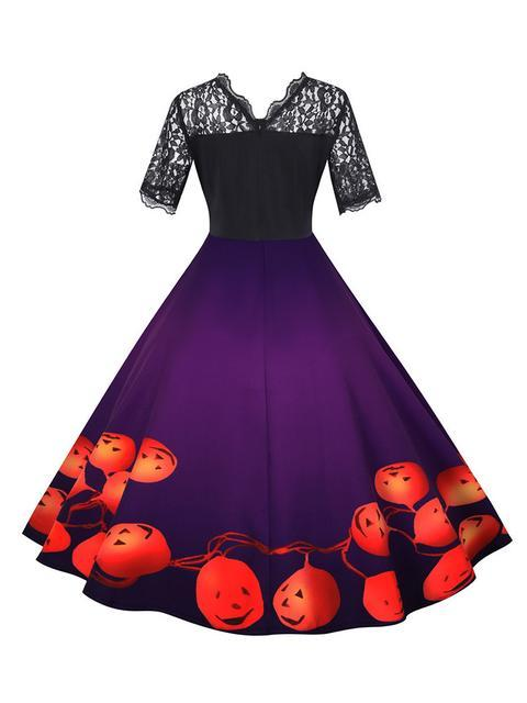 Halloween Pumpkin Lace Patchwork Dress