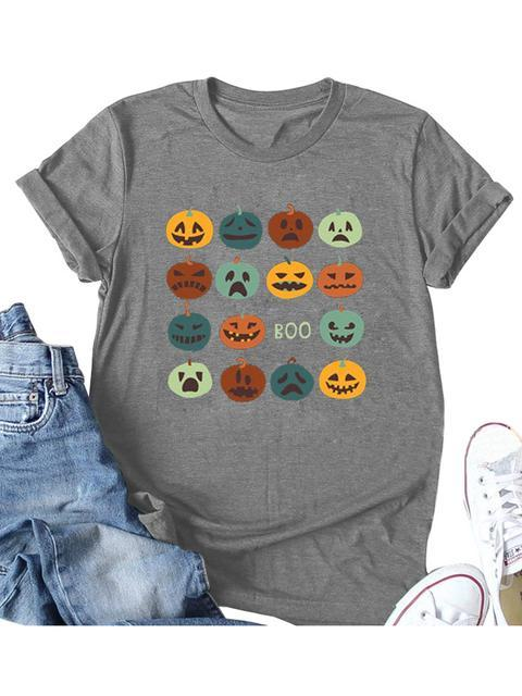 Halloween Pumpkin Print T-shirt
