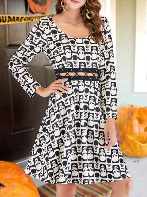 Halloween Skull Print Midi Dress