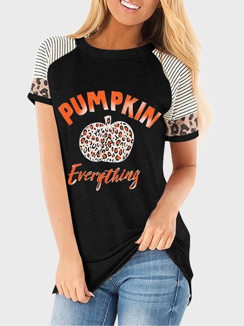 Halloween Stripes Leopard Pumpkin Print T-shirt