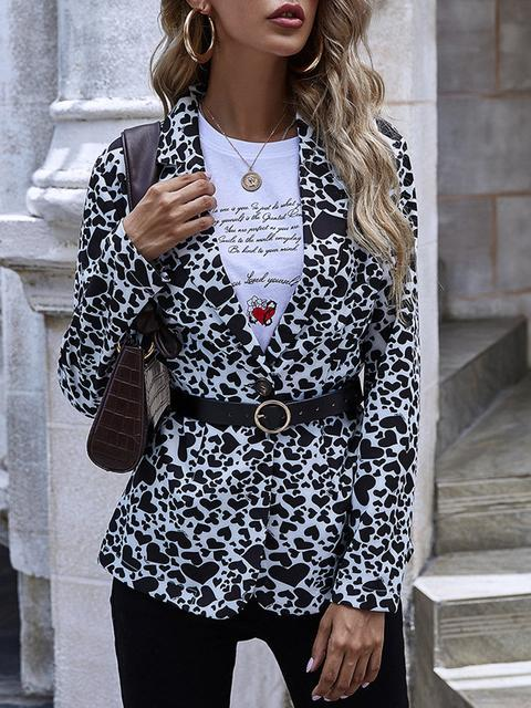 Heart Print V Neck Suit Coat