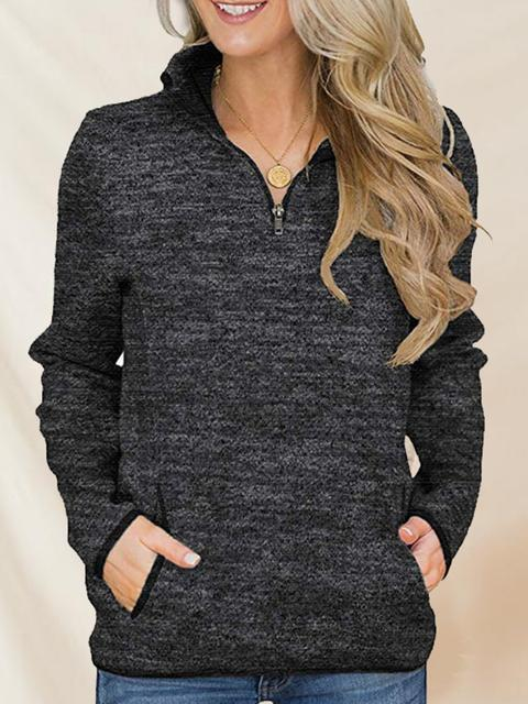 High Collar Zip Pullover Pocket Sweatshirt
