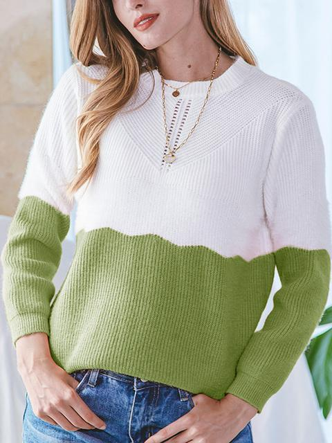 Hollow Out Color Block Sweater
