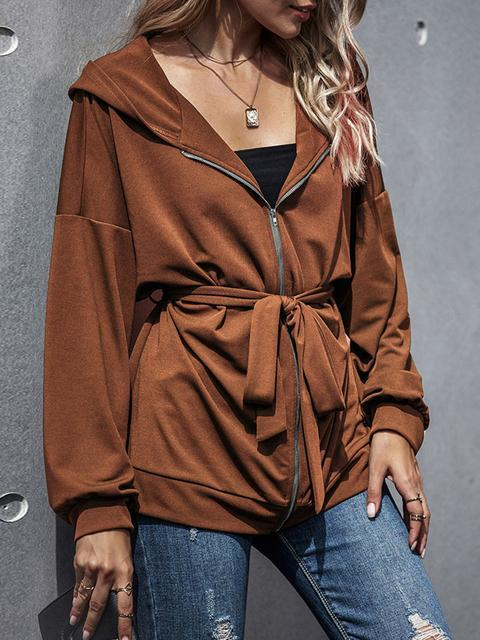 Hooded Mid Long Zip Up Batwing Sleeve Jacket