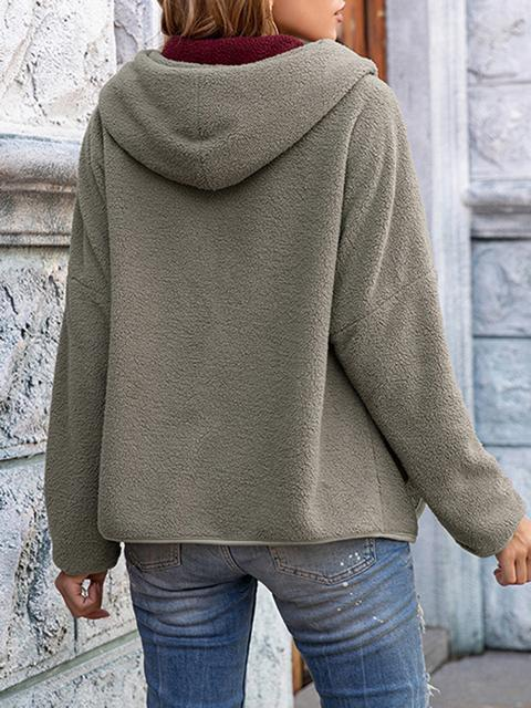Hooded Plush Coat With Pocket