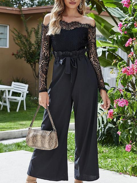 Lace Patchwork Off Shoulder Jumpsuit
