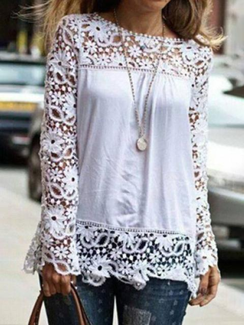 Lace Print Long Sleeve Tops
