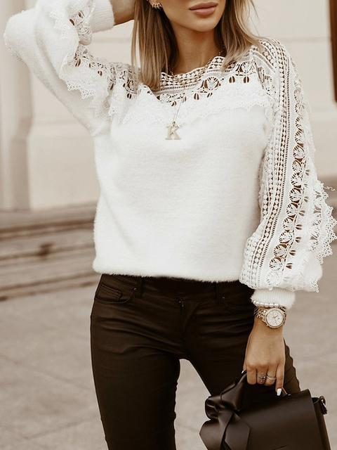 Lace Round Neck Solid Knitting Sweater