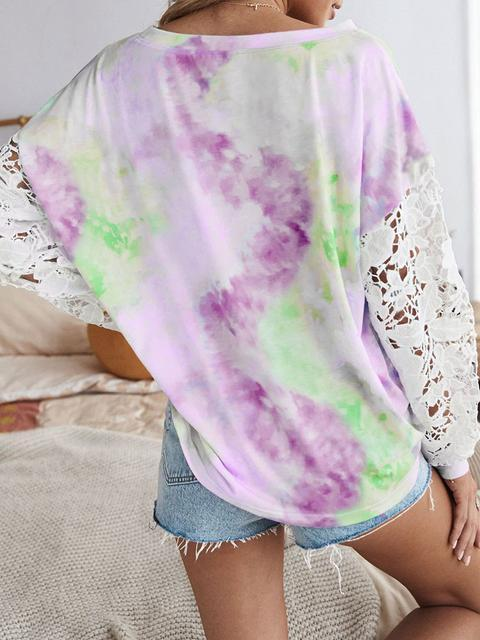Lace Stitched Tie-dye Long Sleeve Tops