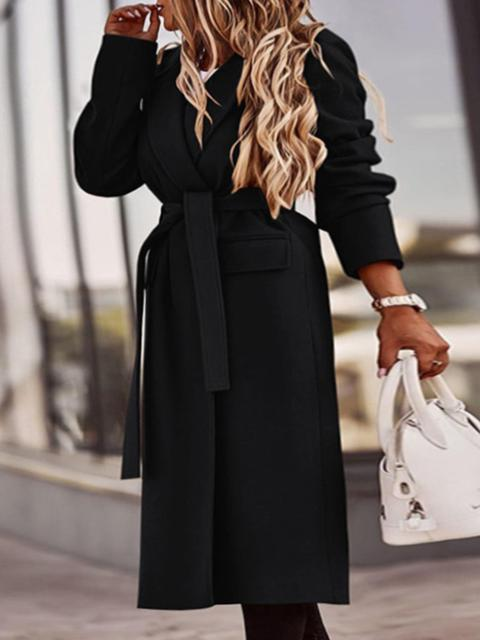 Lapel Neck Solid Long Sleeve Coat
