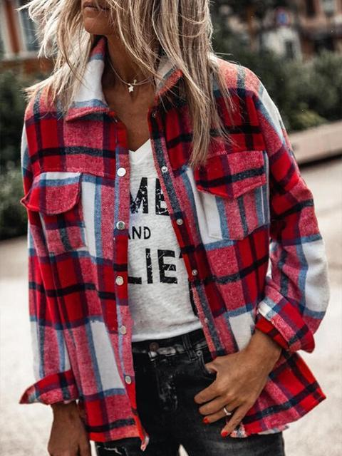 Lapel Neck Plaid Print Shirt Jacket