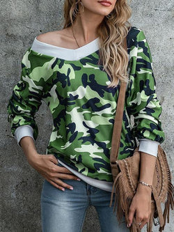 Leopard Camouflage Print V Neck Sweater