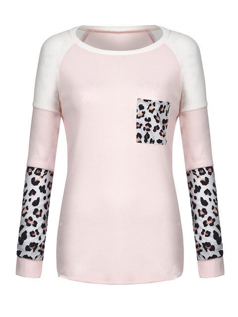 Leopard Color Block Stitched Tops